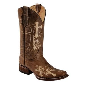 Circle G Western Cross Embroidered Cowboy Boots 9